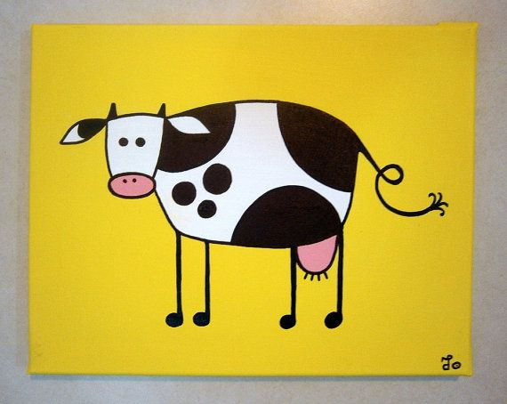Yellow Cow ~ Acrylic painting on canvas -> ->Personalize this cow! by MadCowzArt, €14.00  Cow Art
