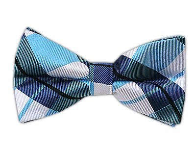 Self tie bow tie - Brown, blue and white plaid Notch