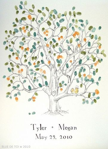 DIY wedding guest book - thumbprint tree - so cute and easy to do. maybe add a little swing and have the bride and groom thumbprint there. :)
