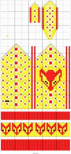 Kettukarkkilapaset / Fox mittens (pattern by Kristiina Kortelainen, melkeinkuinuusi.blogspot.fi)