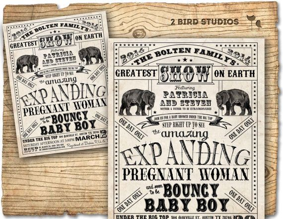 Circus baby shower invitation - Vintage circus flyer inspired invite- boy girl gender neutral printable baby shower invitation