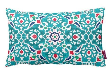 LARGE IZNIK CERAMIC  INSPIRED CUSHION