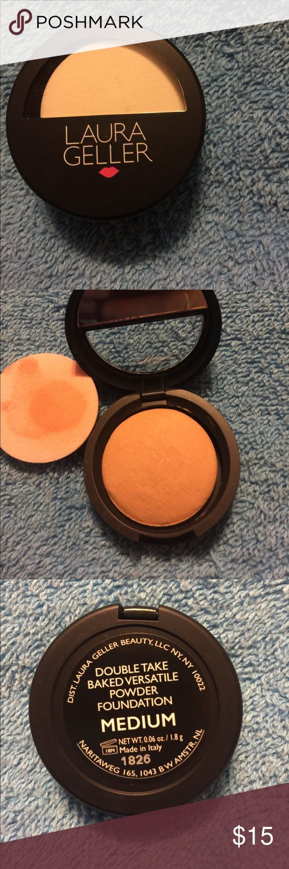 Laura Geller  Foundation Powder Medium Laura Geller  Doible Take Baked Versatile Foundation Powder Medium. Opened and didn't like the color. Never used. Marks on applicator is from it being in case. Laura Geller Makeup Face Powder
