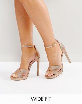 098449238955 Lost Ink Wide Fit Bee Rose Gold Glitter Platform Heeled Sandals ...