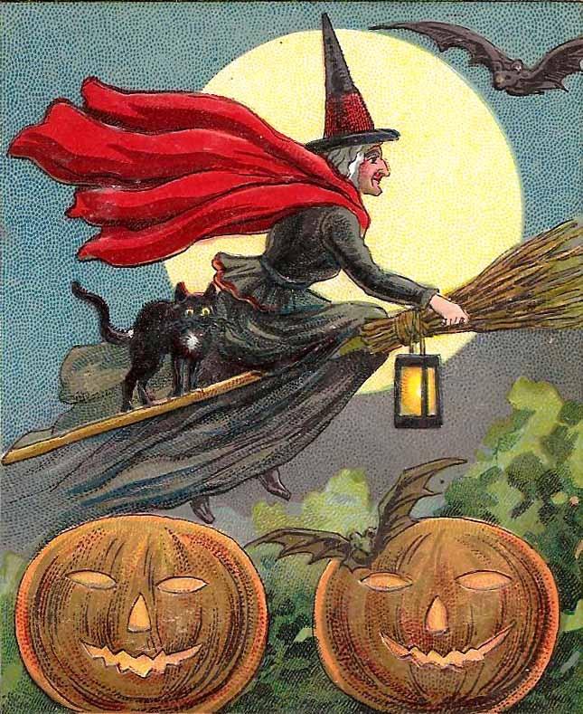 Witch Riding Broom & Jack O'Lanterns Vintage Halloween Illustration