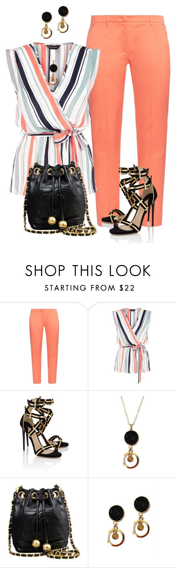 """Sin título #1430"" by marisol-menahem ❤ liked on Polyvore featuring Weekend Max Mara, New Look, Paul Andrew and Chanel"