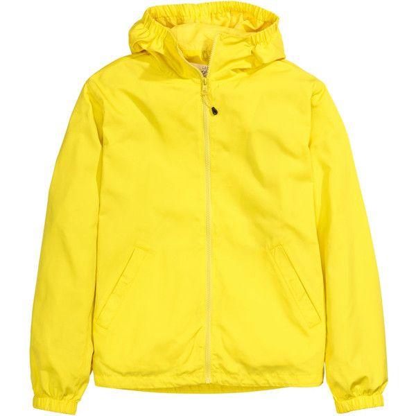Windcheater 24.99 ($38) ❤ liked on Polyvore featuring outerwear, jackets, yellow windbreaker e hooded windbreakers