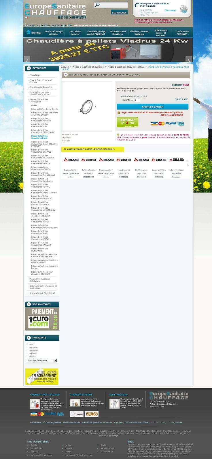 www.esc-grossiste.fr  Vente à prix remisé de chaudières Saunier Duval, Elm leblanc, De Dietrich ainsi que la fumisterie Poujoulat des produits de salle de bain Novellini, Kinedo et chauffe eau électrique Fagor