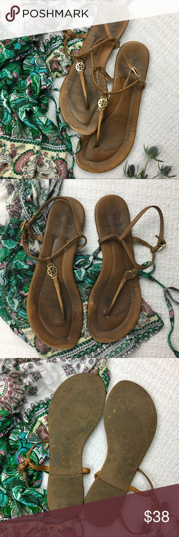 Tory Burch Emmy Thong Tan Sandals Tory Burch Emmy style Thong tan sandals. These adorable little sandals are a great neutral color to go with your entire closet! They are well loved but they still have a ton of life left! No rips or tears, the wear is only seen when the sandal is not on 😊 Tory Burch Shoes Sandals