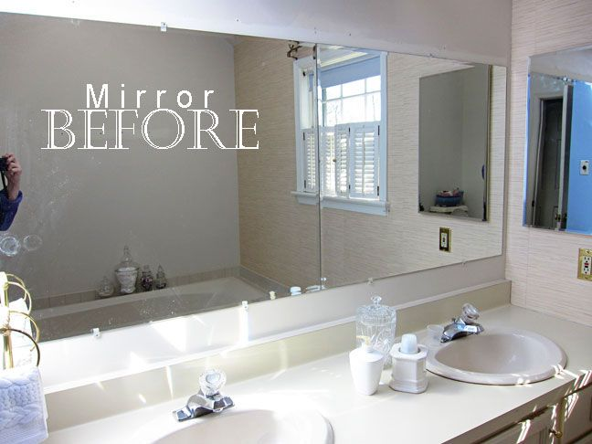 How to do a DIY frame around a plain bathroom mirror. Includes instructions on how to create a frame without needing to miter trim.