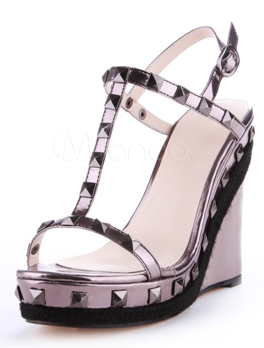 Chic Black Rivet PU Leather Open Toe Wedge Shoes For Women $48.99