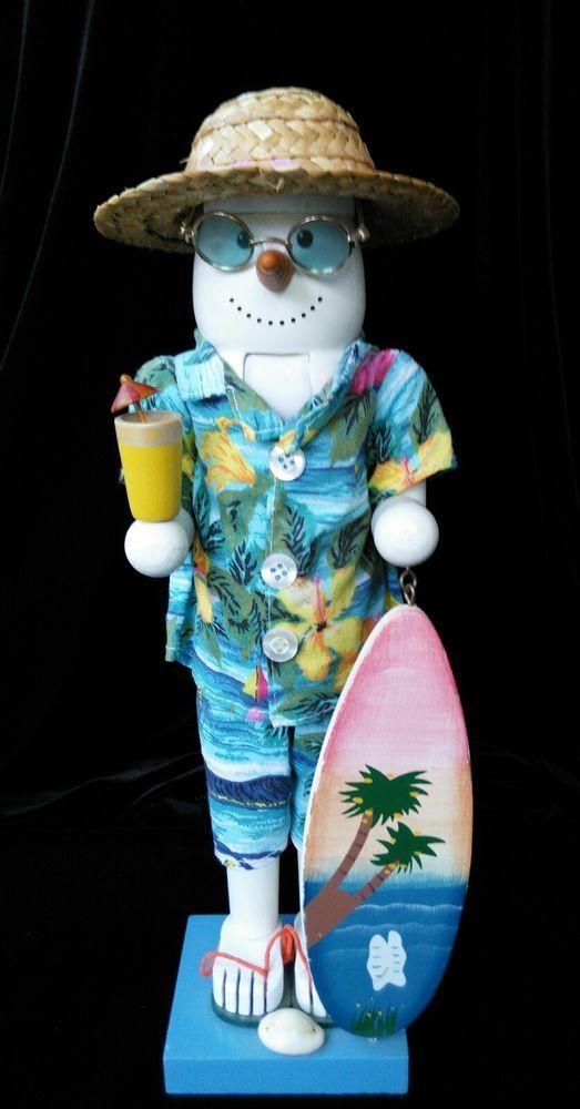 Nutcracker Beach Snowman w Surfboard Tropical Hawaiian Clothing & Straw Hat  #WinterChristmastropicalBeachSnowman