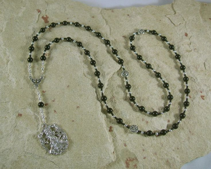 Hekate (Hecate) Prayer Bead Necklace in Black Onyx Greek Goddess of Magic, Witchcraft