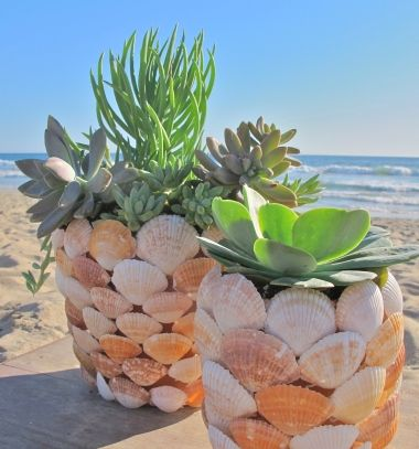 DIY seashell planter - summer craft idea // Kagylós kaspók - tengerparti hangulatú virágcserepek // Mindy - craft tutorial collection