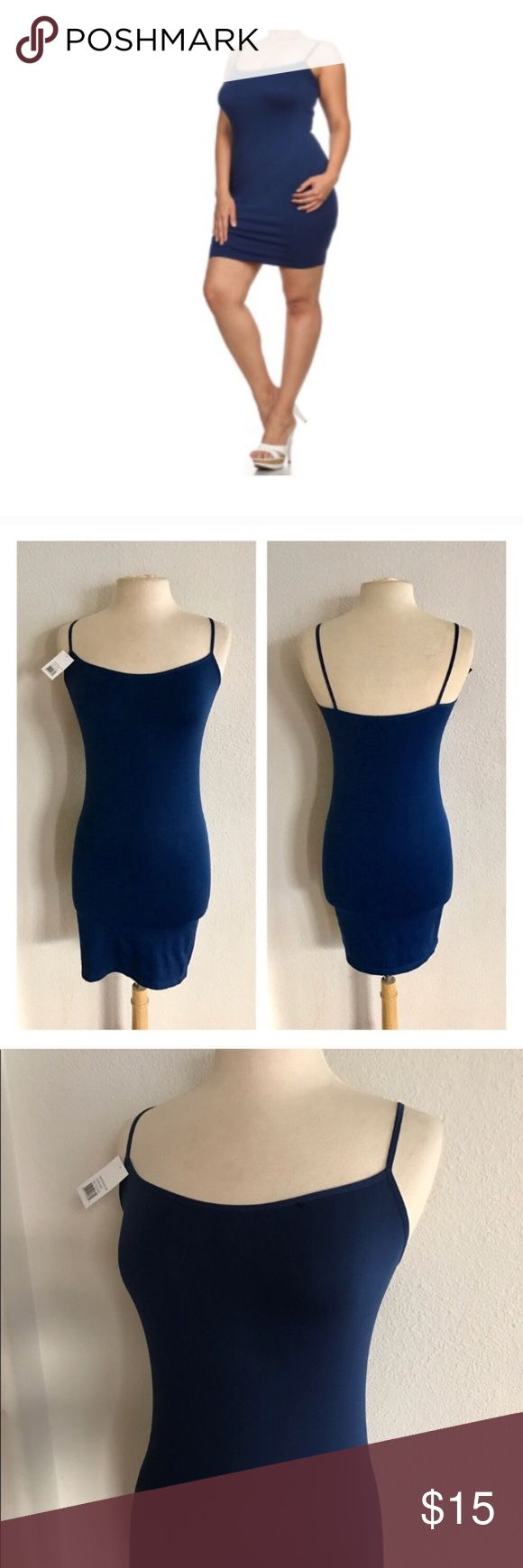 """(L-2x) Blue cami slip Plus size camisole slip. 92% nylon/ 8% spandex. Great for wearing under tunics/ dresses that are slightly sheer!  Measures 32"""" long with a 30"""" bust Bust stretches comfortably to about 46"""". These stretch well beyond measurements. I would recommend this for L-2x.  *Please note: this is not a dress. It's meant to be worn under something.  Availability: 7 ⭐️This item is brand new with tags 💲Price is firm unless bundled ✅Bundle offers Tops Camisoles"""