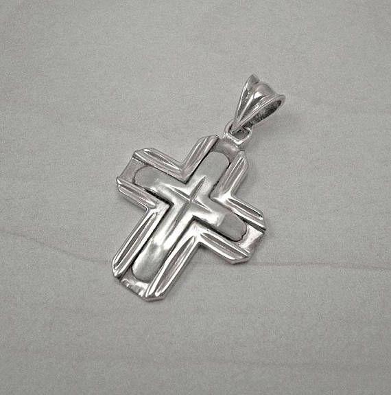 Mens silver crossmens cross necklacemens cross