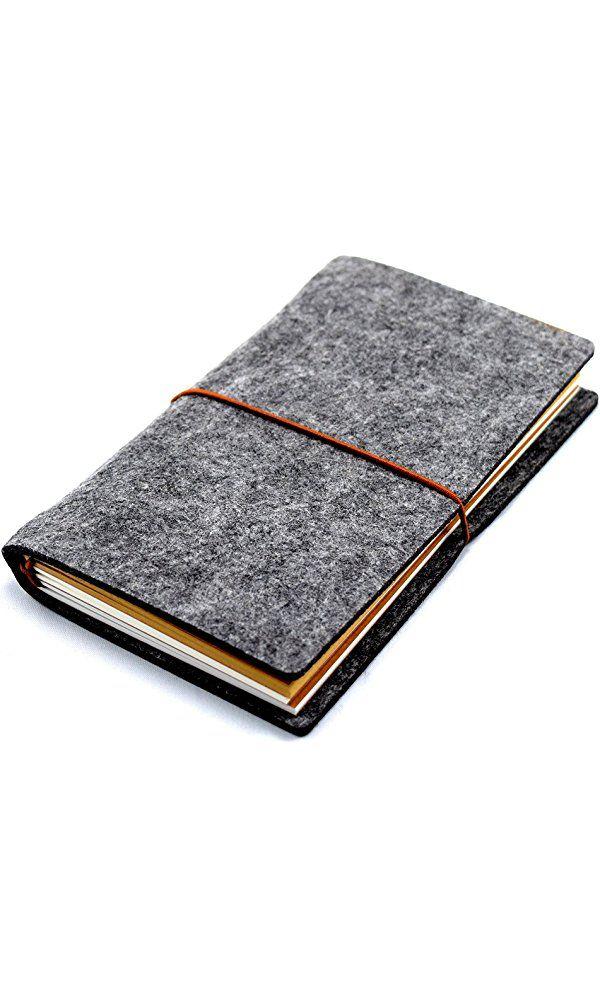 "Wool Felt Cover Journal / Travel Diary / Trip Planner / Notebook (Dark Grey) | 7"" x 4.5"" Best Price"