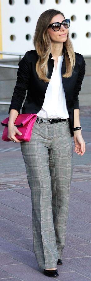 plaid slacks + white blouse + black cardi + pop-of-color bag