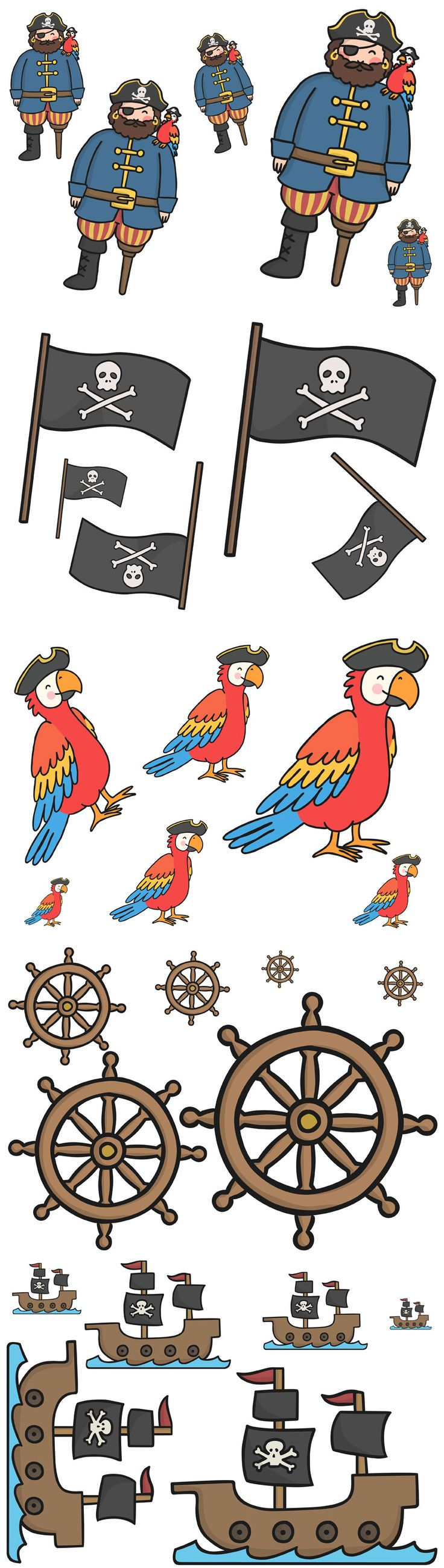 Twinkl Resources >> Pirate Size Ordering Activity  >> Thousands of printable primary teaching resources for EYFS, KS1, KS2 and beyond! pirate size ordering, size ordering activity, pirate ordering, cut out fun, size ordering, pirate themed,