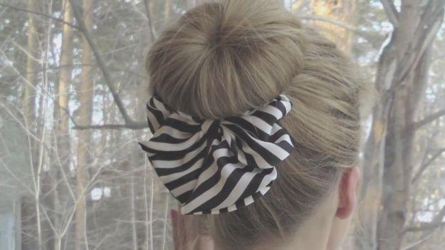 Прическа с бубликом и бантом ::: onelady.ru ::: #hair #hairs #hairstyle #hairstyles