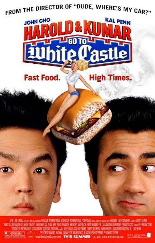 Cast: Kal Penn John Cho A big shout out has to be given to both Harold and Kumar films  the original is the ultimate stoner munchy run gone awry. After getting stoned, pals Harold and Kumar go in search of the White Castle burger, which seems like a