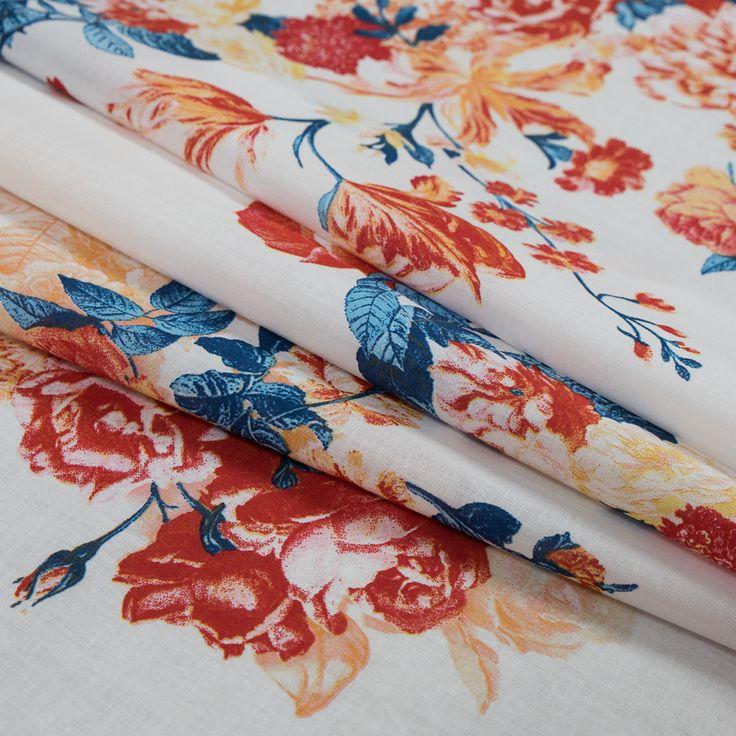 Italian Red and Navy Peony Floral Cotton Batiste | Mood Designer Fabrics