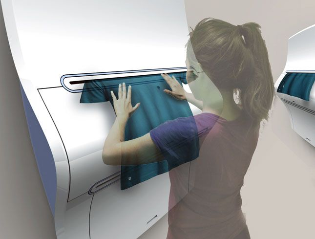 The clothing printer — Print different clothing everyday and reuse old clothes to make new clothes.