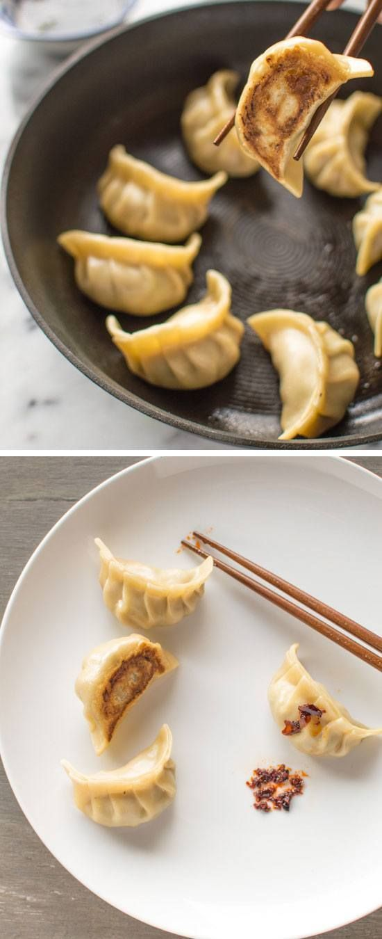 Spinach Thyme  Pork Potstickers Click for 30 Easy Holiday