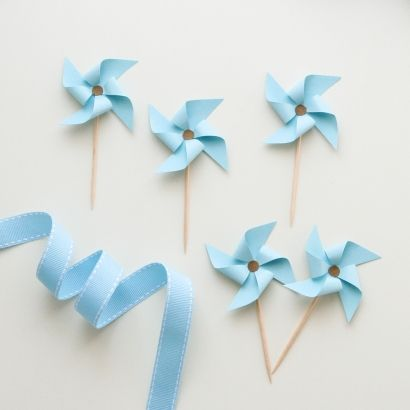 Pinwheel Cupcake Toppers - Hand Made - It's a Boy - Baby Shower - Boy Birthday / Find them here www.partyalphabet.gr