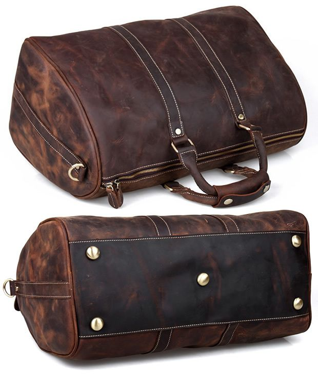 Image of Vintage Handmade Antique Crazy Horse Leather Travel Bag / Luggage / Duffle Bag(z11)