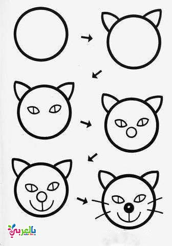 How To Draw Cat Step By Step For Kids Art Drawings For Kids Drawing For Kids Drawing Lessons