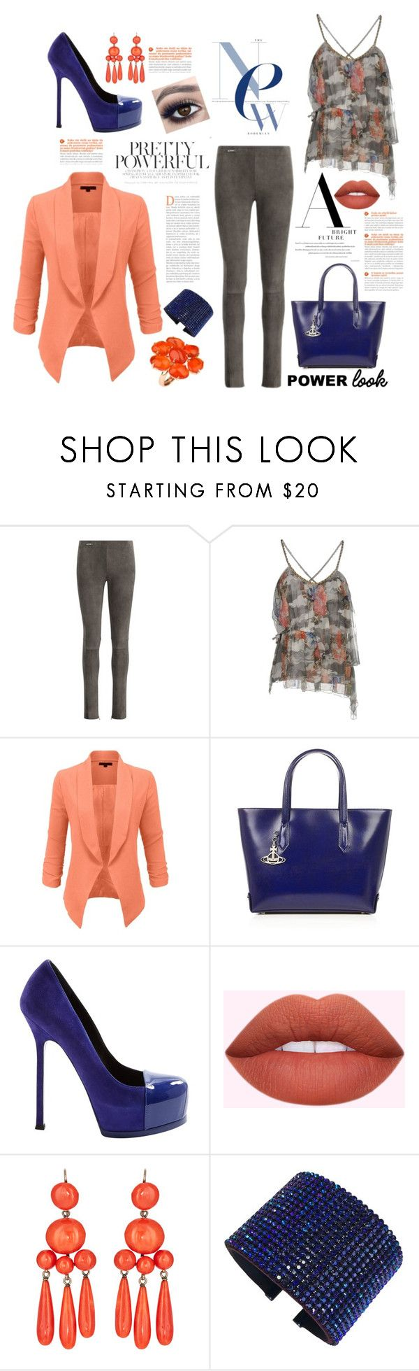"""""""Pretty Powerful"""" by shearenvy ❤ liked on Polyvore featuring Polo Ralph Lauren, Atos Lombardini, LE3NO, Vivienne Westwood, Yves Saint Laurent, Swarovski, Blue, coral, suede and floralprint"""