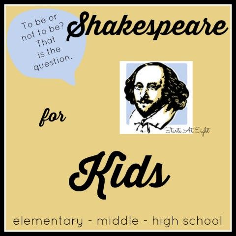 Shakespeare for Kids is a collection of resources and ideas for introducing Shakespeare at a young age and carrying them through high school.