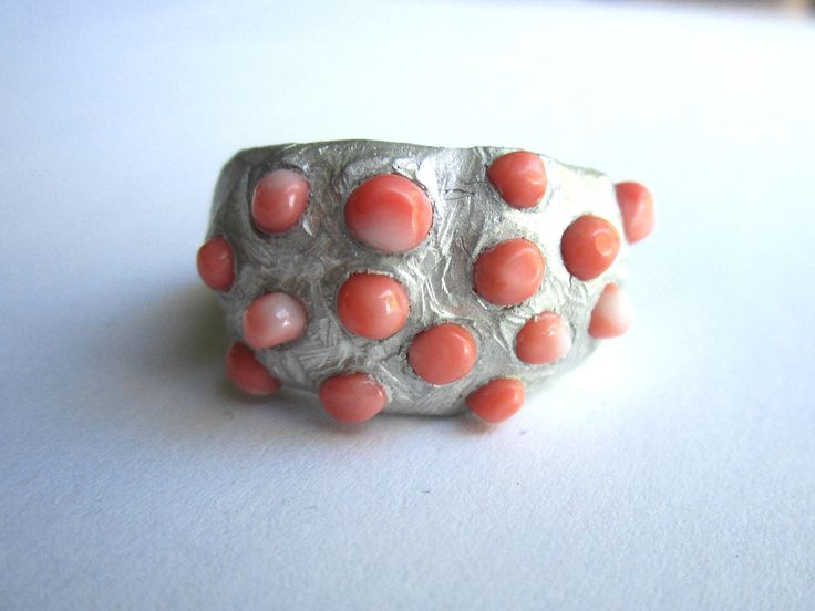 coral and sterling silver ring, made by jennifer laracy