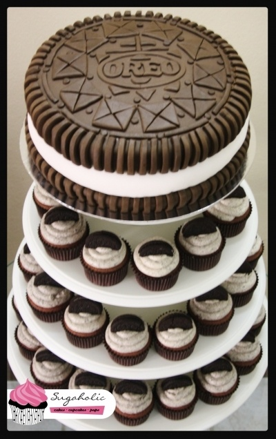 Oreo Cake and cupcakes by sugaholic on CakeCentral.com