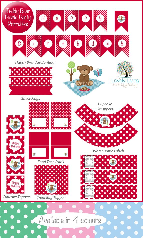 Teddy Bear Picnic Party Printable Collection - In 4 Colours - Lovely Living