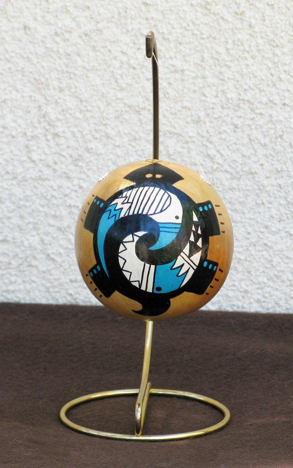 Southwestern Hand-painted Gourd Christmas Ornament 274G