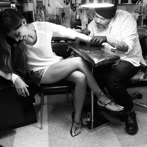 Christina Perri getting a tattoo:)