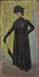 Φιλική Εκτύπωση Παρθένης Κωνσταντίνος (1878/1879 - 1967) Κυρία της Belle Epoque [Προσωπογραφία Σοφίας Λασκαρίδου], 1900 Λάδι σε ύφασμα , 59,7 x 30,1 εκ. Αρ. έργου: Π.11532