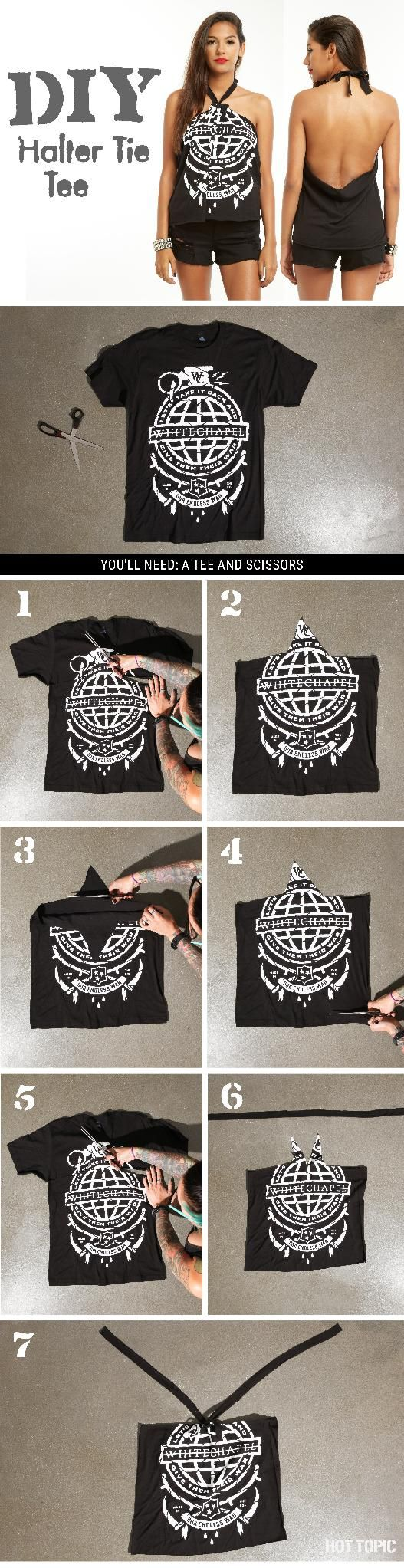 Got an old tee? Make it a halter top!
