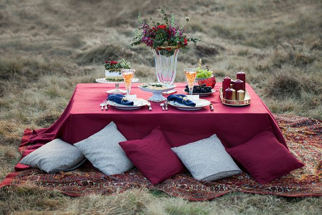 Burgundy linen tablecloth. Linen tablecloth can transform an ordinary evening into something special, making everybody feel connected over their meal.  Tablecloths are made from pure linen. Linen...