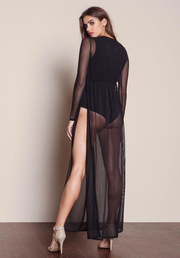 Black Mesh Bodysuit Slit Maxi Dress - Love Culture