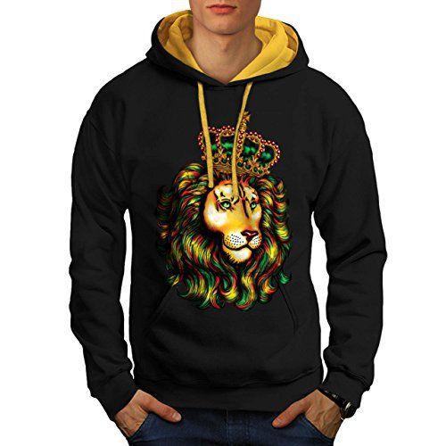 Lion Sauvage Animal Roi Jungle Homme NOUVEAU Noir avec capuche doré M Capuchon Contraste   Wellcoda: Cet article Lion Sauvage Animal Roi…