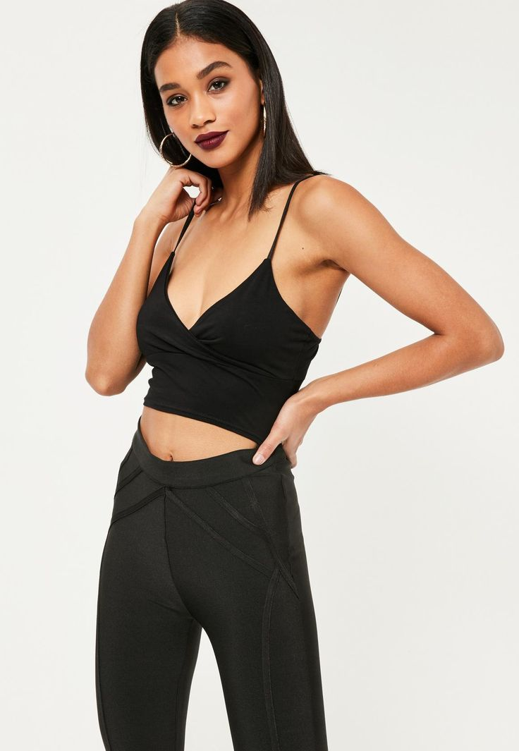 Missguided - Jersey Wrap Over Bralet Black
