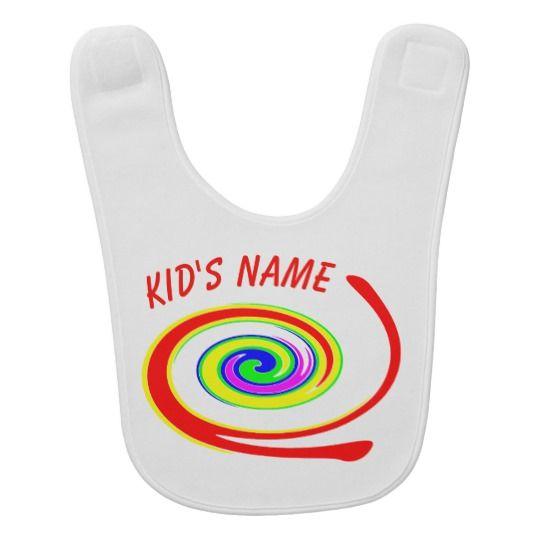 Multicolored swirl baby bib, personalized, customized, graphics, picture, gift, artwork, buy, sale, gift ideas, zazzle, shop, discount, name, multicolor, twirl, swirl, bright, red, yellow, green, blue, purple, rainbow, colorful, fun, funny