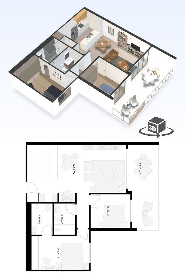 2 Bedroom Apartment Floor Plan In Interactive 3d Get Your Own 3d Model Today At Http Penthouse Apartment Floor Plan 2 Bedroom Apartment Floor Plan Floor Plans