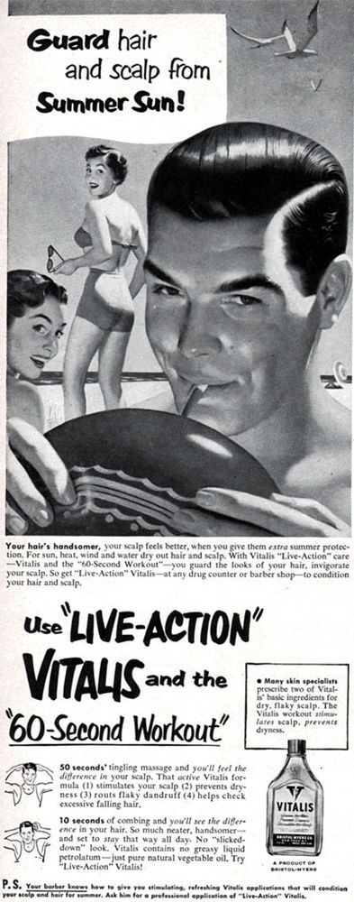 Nate White Vitalis Hair Tonic LIVE ACTION 60 Second Workout 1950 Magazine Ad