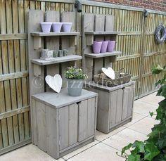 leuke tuinkasten van steigerhout Zeer geschikt voor het opruimen van buitenspeelgoed