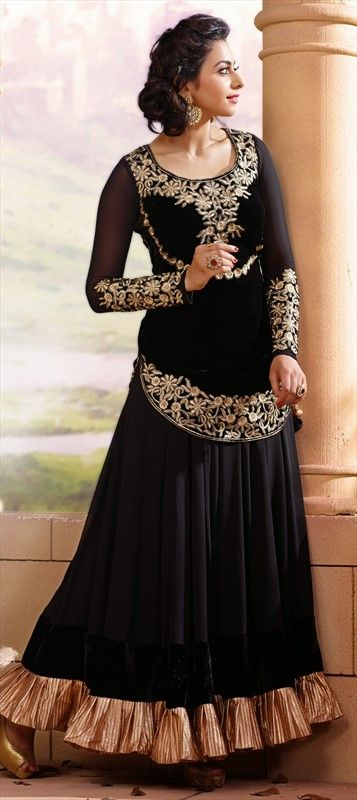 414335: #Anarkali in #velvet fabric. Just what you need to be most stylish at any party.