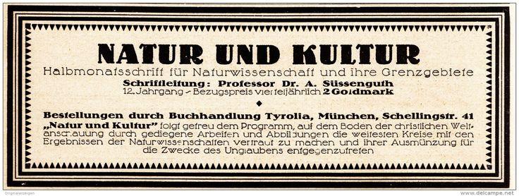Original-Werbung/Anzeige 1924 - ZEITSCHRIFT NATUR UND KULTUR / PROFESSOR SÜSSENGUTH - ca. 180 x 65 mm